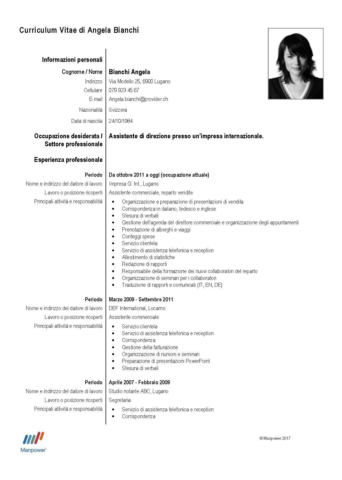 Esempio Curriculum Vitae Commessa Firmakoek